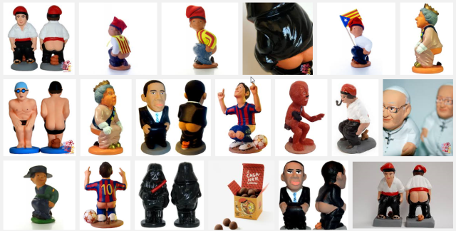 """Partial screen shot for """"caganer catalog"""" on Google Images. This hardly scratches the surface. You can find Caganer Putin, Einstein, Antonio Gaudi, Edward and his bride (in wedding dress, kissing). Hello Kitty, every single character from Star Wars (may the farts be with you), Tintin and Snowy pooping in tandem, and every single soccer player in history."""
