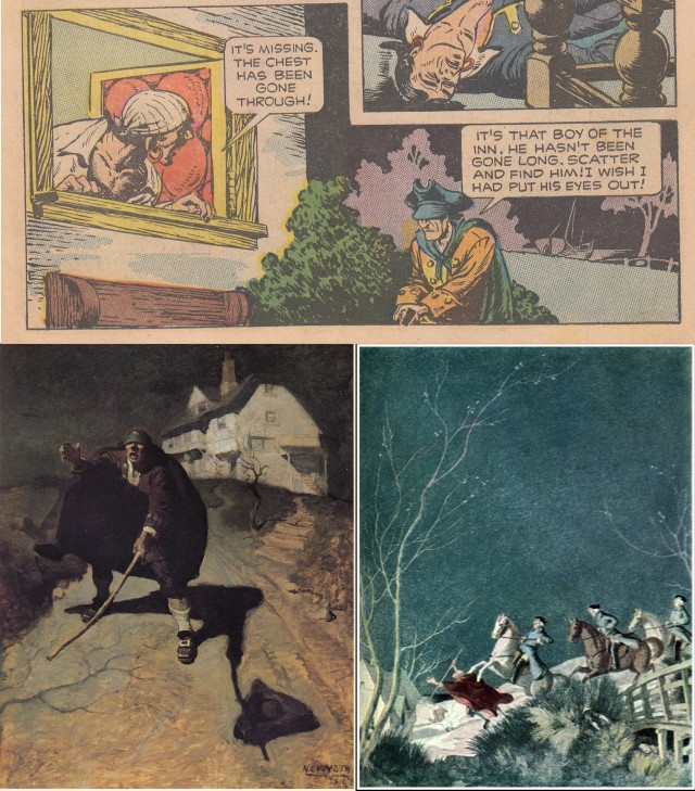 Top: Classics Illustrated #84 by Alex Blum. The face in the chopped-off panel at right is that of Billy Bones. Bottom: Pew seeking the aid of his shipmates, who have fled, by N.C. Wyeth, possibly the most famous illustrator for this story; Pew is ridden down by Edmond Dulac. Dulac was a great illustrator, but chose to see everything in Treasure Island from a distance. There is little of characters in his illustrations.