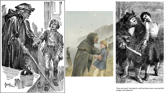 Pew grabs Jim,left to right: by Frank Godwin, a comics artist whose masterful pen and ink illustrations are some of the best for Treasure Island; Roberto Innocenti, for a 2012 Italian translation of the novel.; Mervyn Peake, from 1947m still in print.