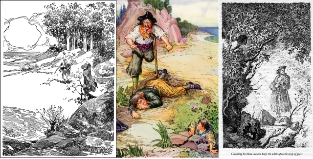 Death of Tom: by Frank Godwin, Louis Rhead -- Rhead worked in black and white, then colored a few pages for the publisher. Both B/w and color versions may be seen in the Gutenberg.org edition ; Mervyn Peake