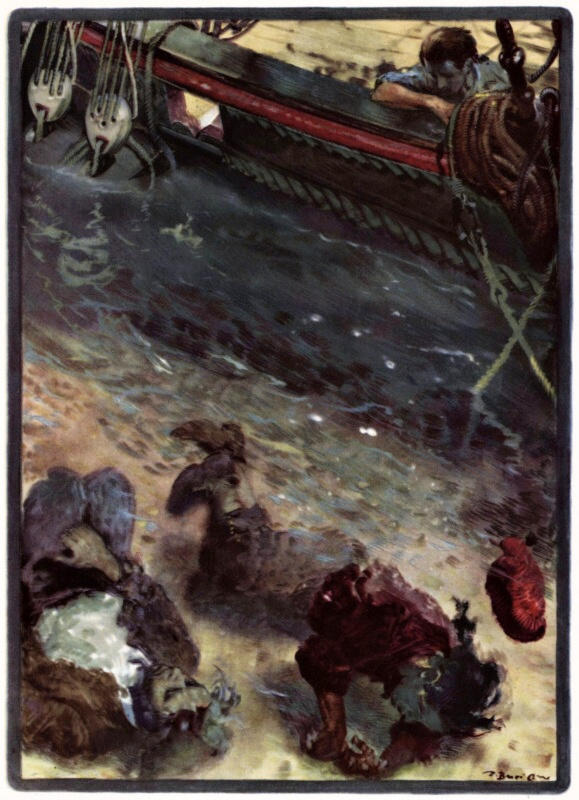 Jim contemplates the two corpses in the water, by Zdenek Burian from a Polish edition of 1947. These deaths take a toll on Jim, in the book.