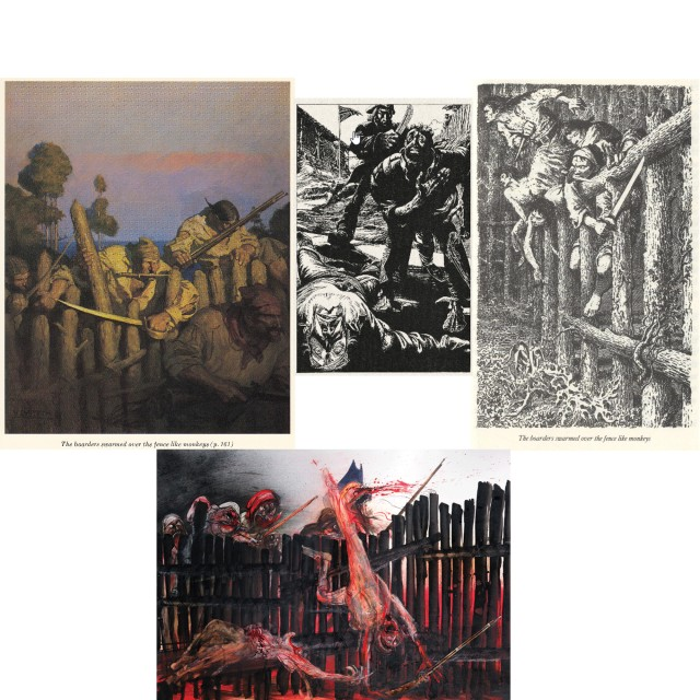 Attack on the Stockade. Top: N.C.Wyeth; Abraham Gray kills the big boatswain, by Bohuslav Mikes (Czech edition, 1967). Gray left the pirates to join Jim's party. He makes it back to England; Mervyn Peake. Bottom: Ralph Steadman