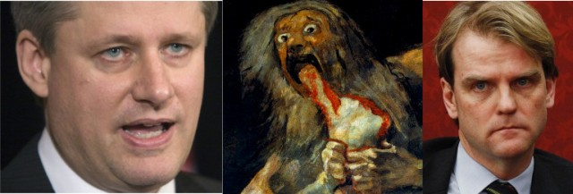 Left to right: Prime Minister Stephen Harper; Saturn devourer of children; Chris Alexander, Honorable Minister for Immigration and Citizenship.